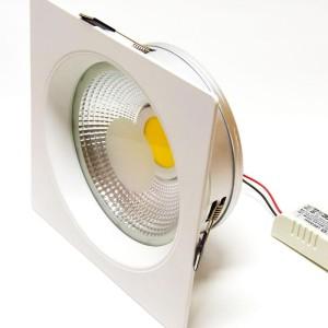 Detalhes do produto Luminária de embutir LED COB 15W Branco Quente Quadrada